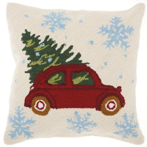 Mina Victory Home For The Holiday Christmas Tree on Car Multicolor Throw Pilllow