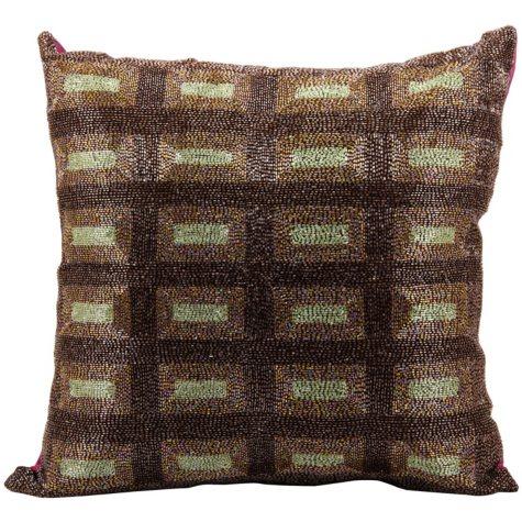 "Multicolor Beaded Rectangles 20"" x 20"" Decorative Pillow By Nourison"