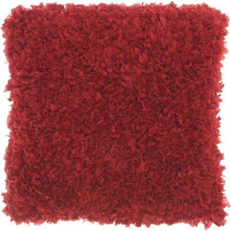 Mina Victory Chindi Short Cut Shag Throw Pillow, Deep Red