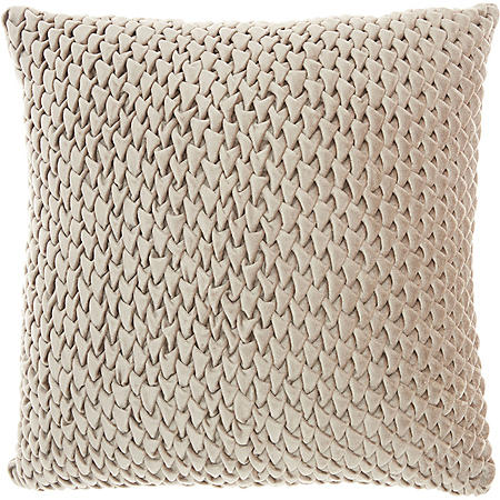 Mina Victory Life Styles Pleated Velvet Throw Pillow, Beige