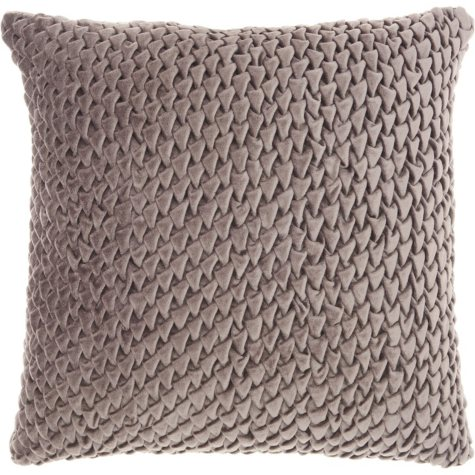 Mina Victory Life Styles Pleated Velvet Throw Pillow, Dark Grey