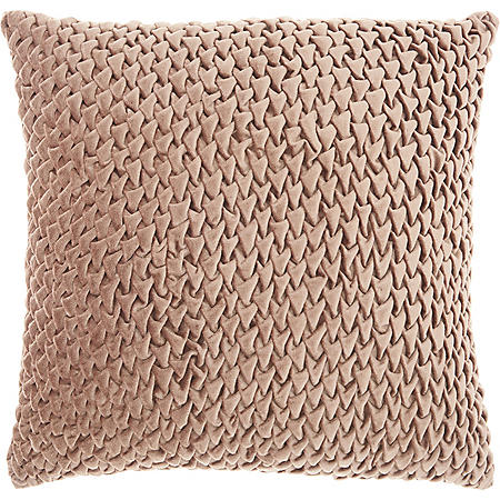 Mina Victory Life Styles Pleated Velvet Throw Pillow, Nude