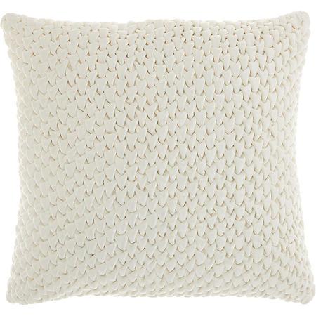 Mina Victory Life Styles Pleated Velvet Throw Pillow, Cream