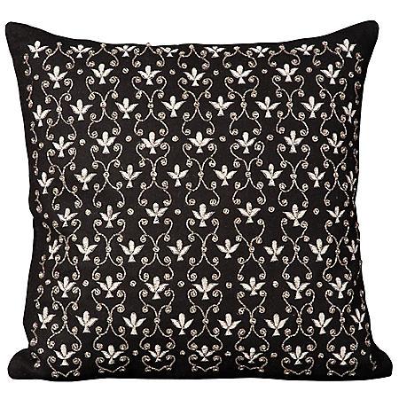 """Black Fleur De Lis 20"""" x 20"""" Decorative Pillow By Nourison"""