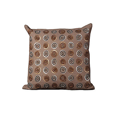 "Taupe Sequin Circles 20"" x 20"" Decorative Pillow By Nourison"