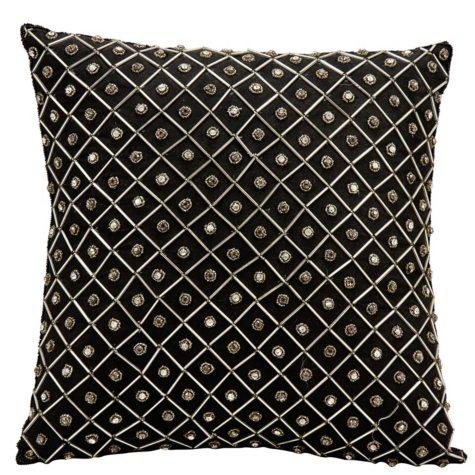 """Black Bridal Diamonds 16"""" x 16"""" Decorative Pillow By Nourison"""