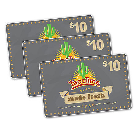 Taco Time $30 Value Gift Cards - 3 x $10