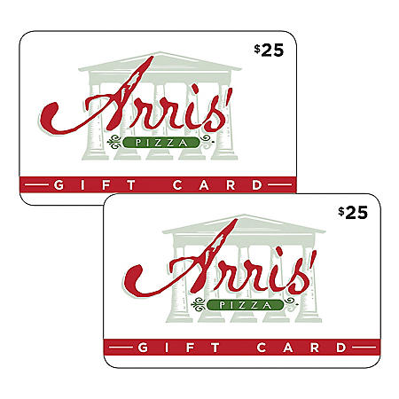 Arris Pizza Gift Cards $50 Value - 2 x $25