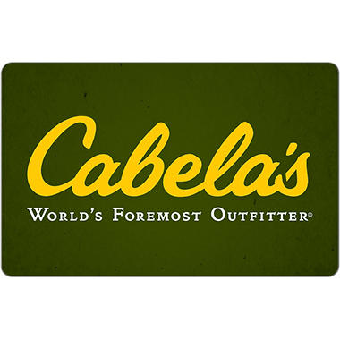 cabela's® egift card (email delivery) - various amounts - sam's club