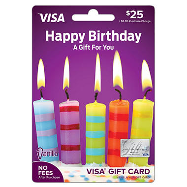 Vanilla VisaR Happy Birthday Candles 25 Gift Card