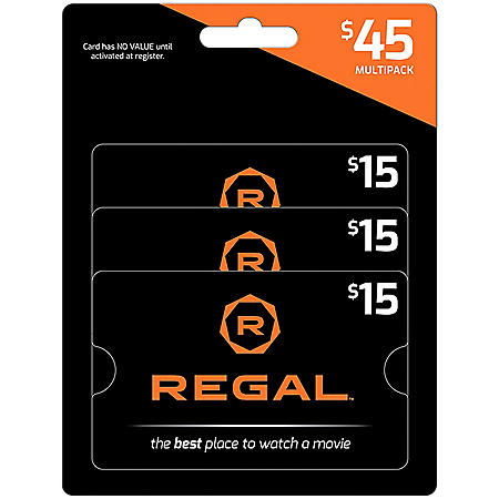 Regal $45 Value Gift Cards - 3 x $15
