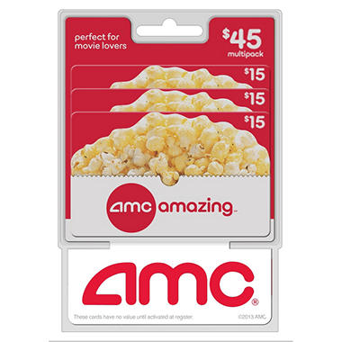 amc movie theatres gift cards 3 x 15