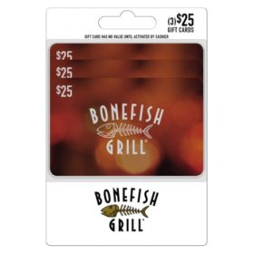 Bonefish Grill $75 Multi-pack - 3/$25 Giftcards