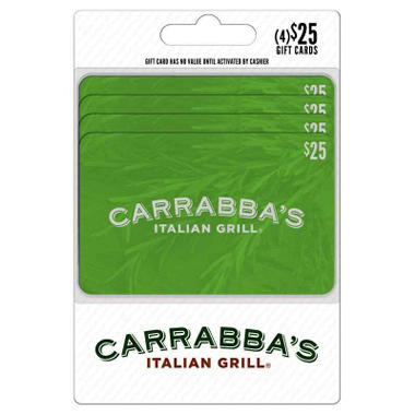Carrabba\'s $100 Multi-pack - 4/$25 Giftcards - Sam\'s Club