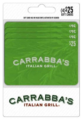 Carrabba's $100 Multi-pack - 4/$25 Giftcards