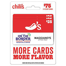 Chili?s, Maggiano?s, On The Border, and Macaroni Grill $75 Multi-Pack - 3/$25 Gift Cards
