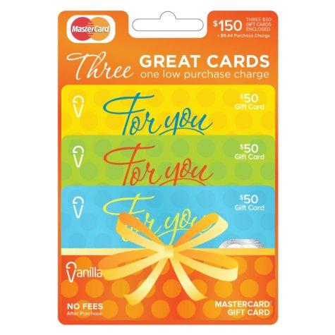 Vanilla MasterCard $150 Multi-Pack - 3/$50 Gift Cards
