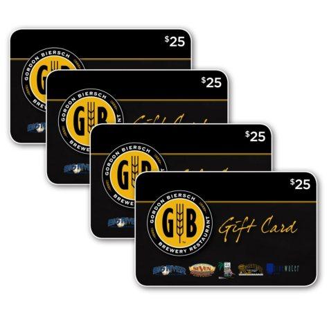 Gordon Biersch Brands $100 Value Gift Cards - 4 x $25