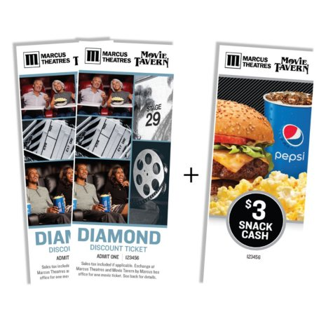 Marcus Theatres – 2 Tickets and Free $3 Snack Cash Voucher