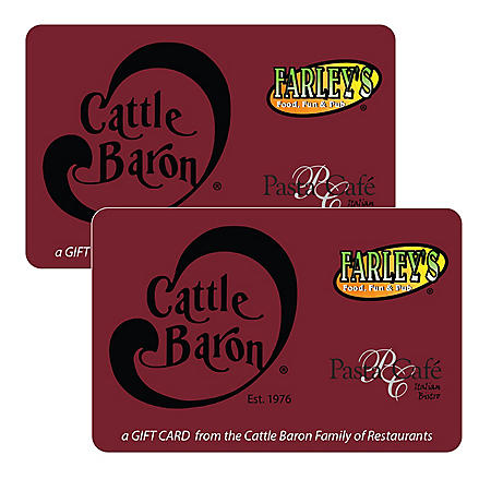 Cattle Baron Steakhouse (TX, NM) $50 Value Gift Cards - 2 x $25