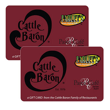 Cattle Baron Steakhouse $50 Gift Card - 2 x $25