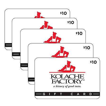 Kolache Factory $50 Value Gift Cards - 5 x $10