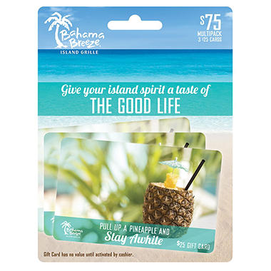 Bahama Breeze Gift Card Multipack, 3x$25