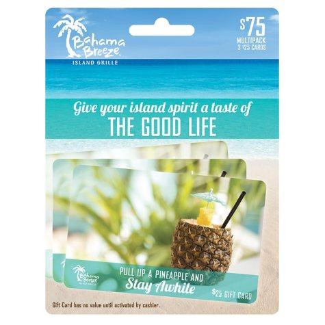 Bahama Breeze Gift Card Multipack, 3x$25