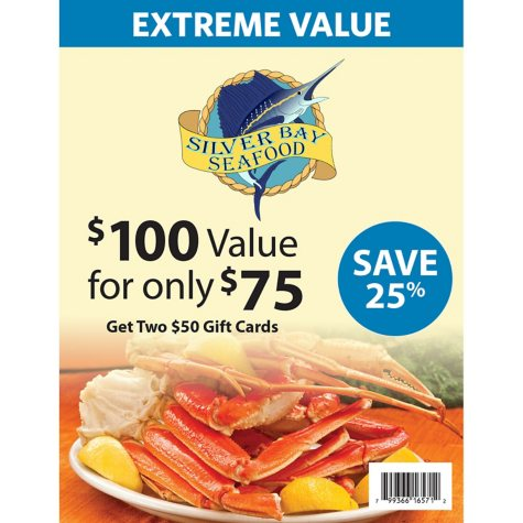 Silver Bay Seafood (SC, GA) $100 Value Gift Cards - 2 x $50