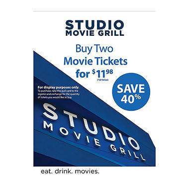 Studio Movie Grill - 2 Movie Tickets for $11.98