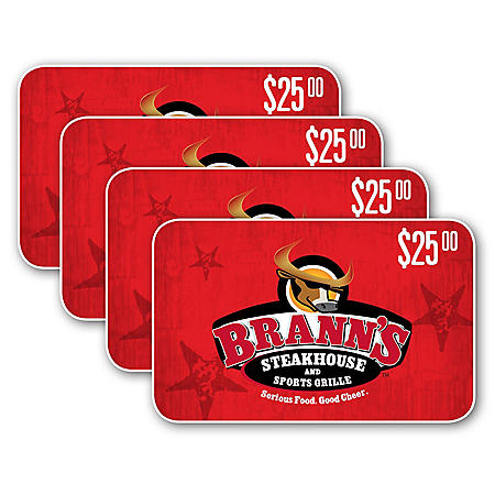 Brann's Steakhouse & Sports Grille $100 Value Gift Cards - 4 x $25