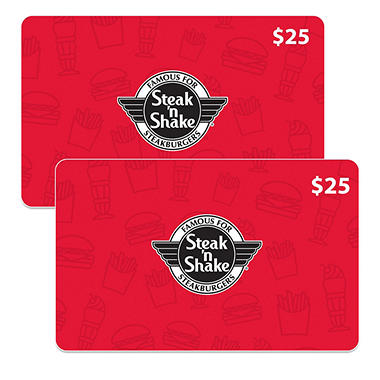 Steak n shake 50 value gift cards 2 x 25 sam 39 s club for Steak n shake dining room hours