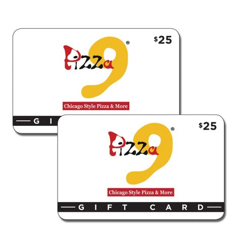 Pizza 9 (TX, NM) $50 Value Gift Cards - 2 x $25