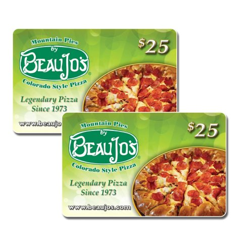 Beau-Jo's $50 Value Gift Cards - 2 x $25