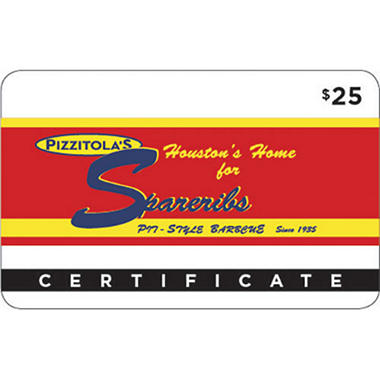 Pizzatolas BBQ Gift Card - 2 x $25