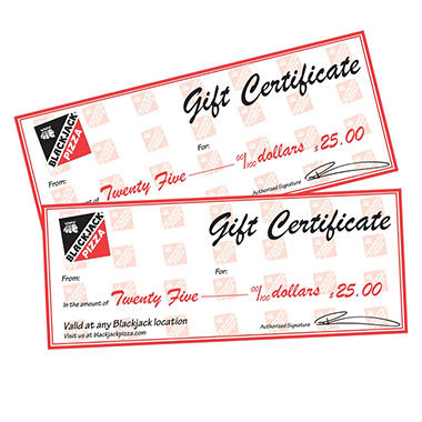Blackjack Pizza $50 Value Gift Cards - 2 x $25