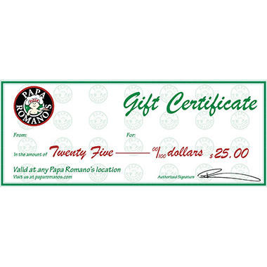 Papa Romona's (MI) $50 Value Gift Cards - 2 x $25
