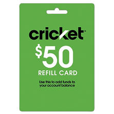 Cricket $50 Prepaid Wireless Refill Card
