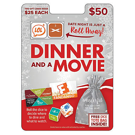 Darden Fandango Dinner and a Movie $50 Value Gift Cards - 2 x $25 Plus a Bonus Dice Game