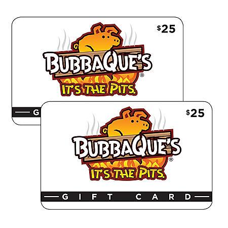 BubbaQue's (FL, LA) $50 Value Gift Cards - 2 x $25