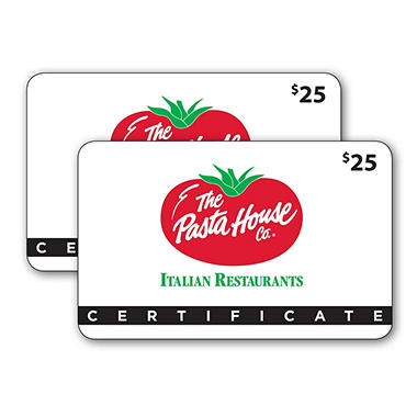 The Pasta House $50 Value Gift Cards - 2 x $25