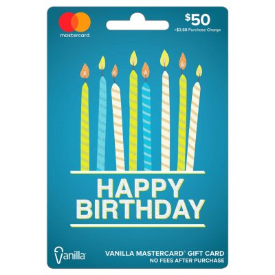 Vanilla MasterCard Happy Birthday Gift Card 50 Sams Club