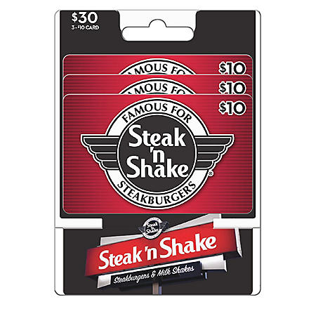Steak N Shake $30 Value Gift Cards - 3 x $10