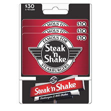 Steak N Shake Gift Cards- Various Amounts