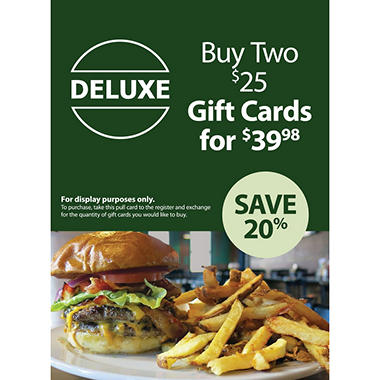 Deluxe Burger $50 Gift Card - 2/$25