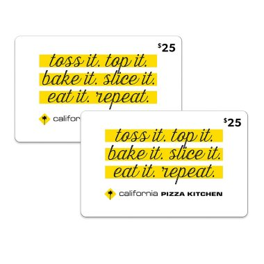 California Pizza Kitchen Palm Tree california pizza kitchen $50 multi-pack - 2/$25 gift cards for