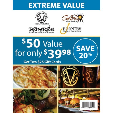 SoBo's Wine Beerstro/Evolution Public House/Boonies Restaurant and Tiki Bar/The Red Roost Gift Card - 2/$25