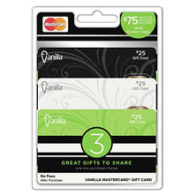 Vanilla MasterCard, $75 Multi-Pack - 3/$25 Gift Cards