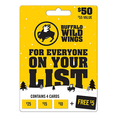 Buffalo Wild Wings $50 Gift Card + $5 BONUS