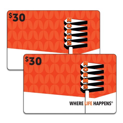 Norms Restaurants LLC $60 Value Gift Cards - 2 x $25 Plus $10 Card